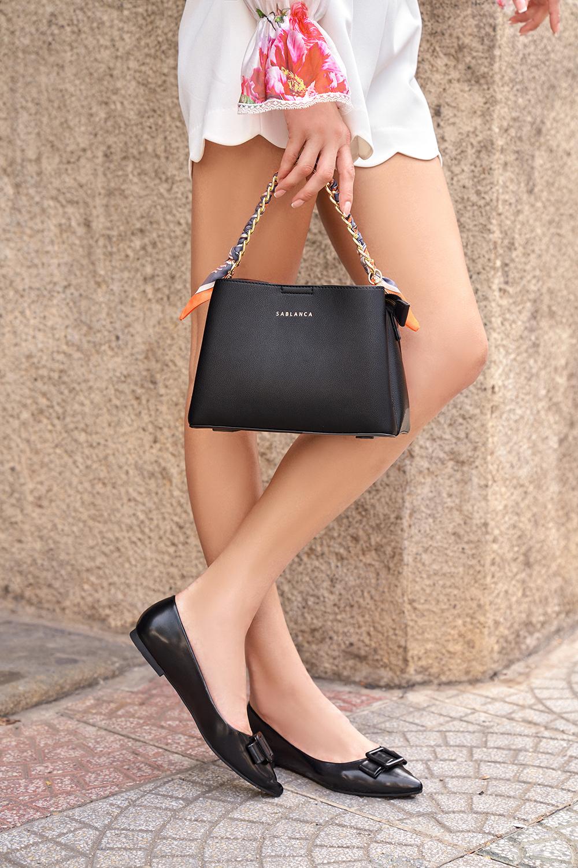 Túi xách tay cầm phối vải