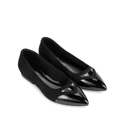Giày búp bê mũi nhọn phối da lộn BB0045