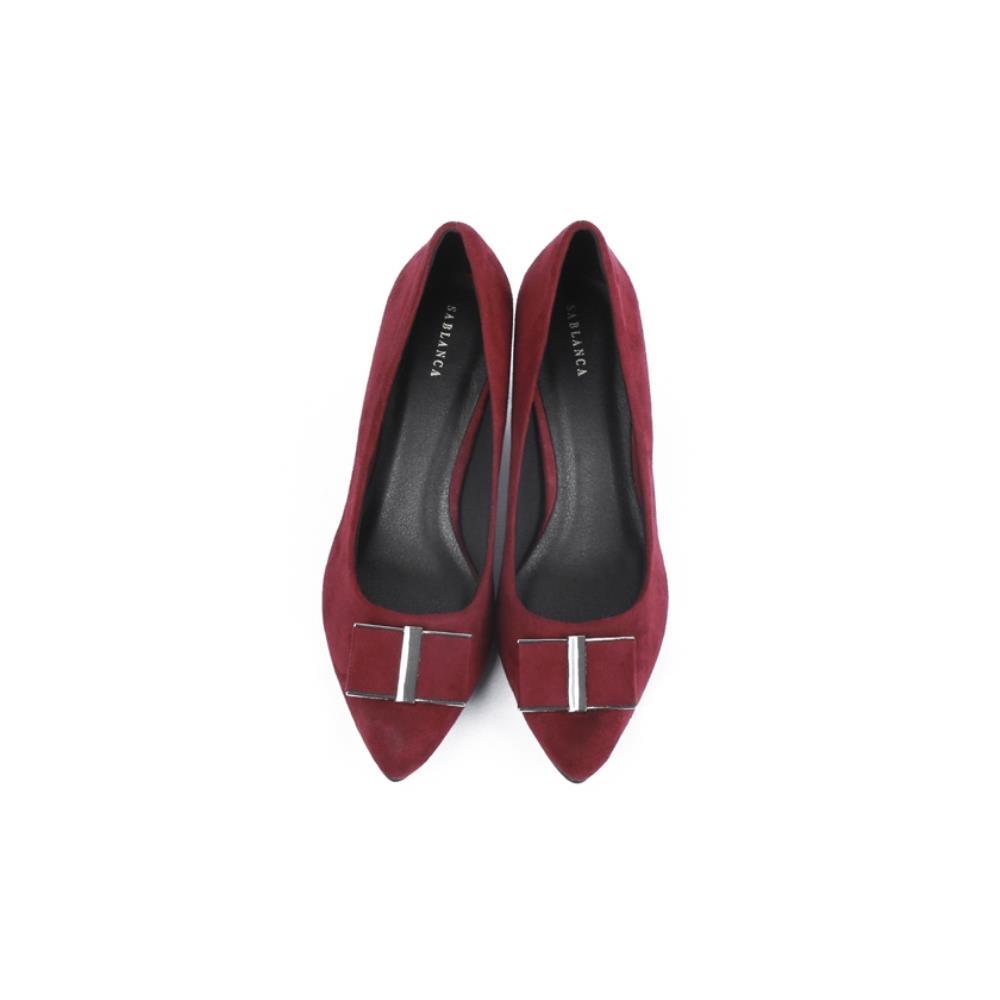 Giày cao gót mũi nhọn phối nơ vuông BN0061
