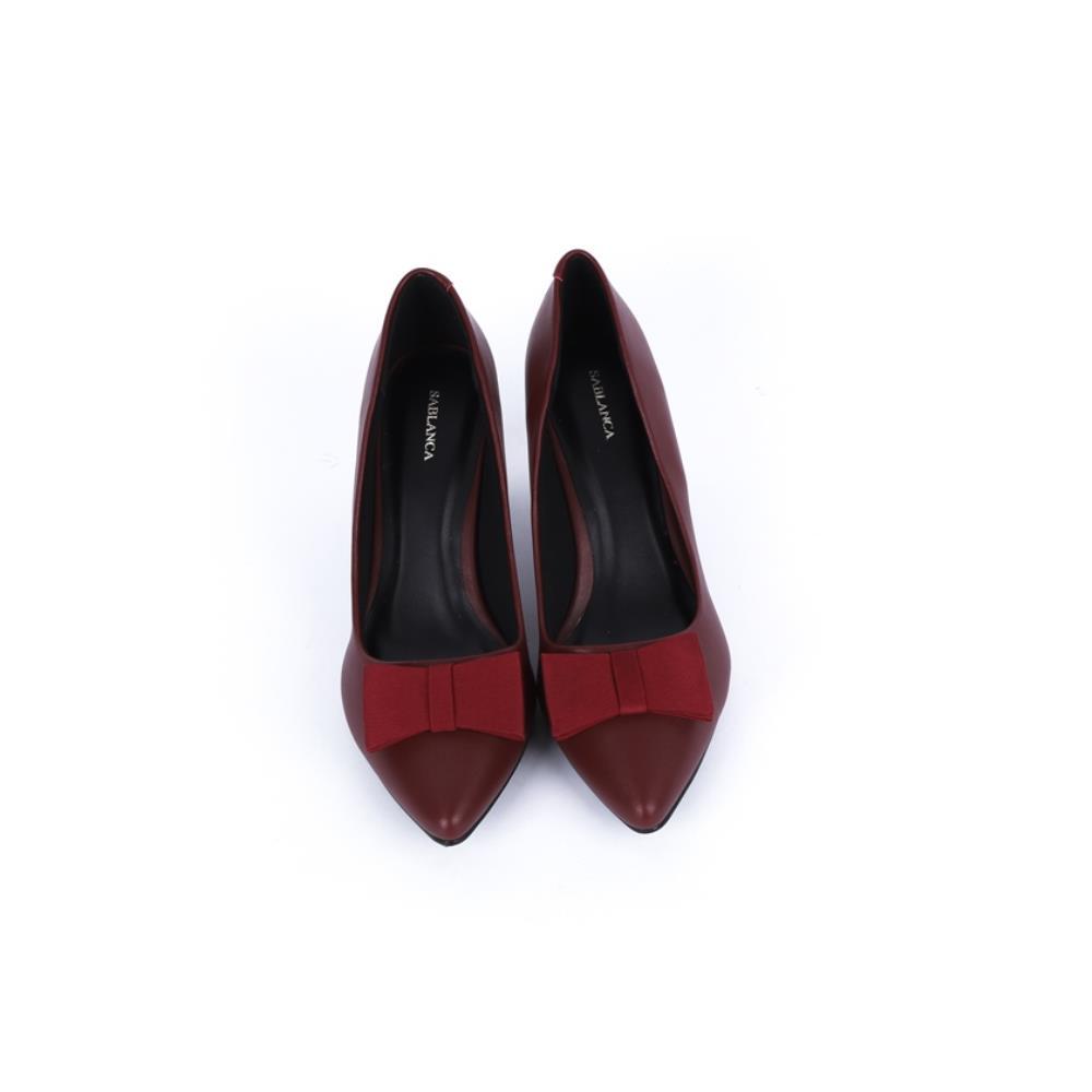 Giày cao gót mũi nhọn phối nơ BN0062