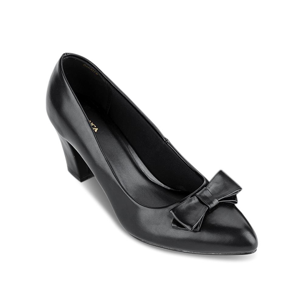 Giày cao gót mũi nhọn phối nơ BN0078