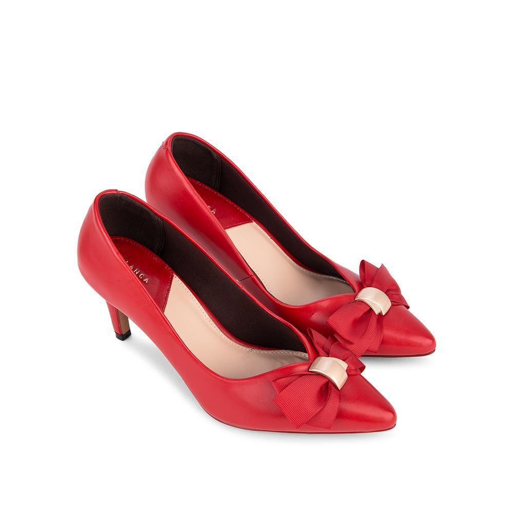 Giày cao gót mũi nhọn phối nơ vải BN0104