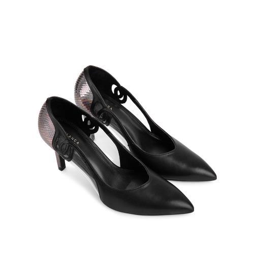 Giày cao gót mũi nhọn phối nhựa trong suốt BN0108