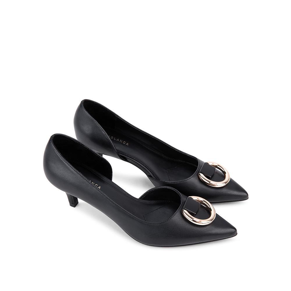 Giày cao gót mũi nhọn phối khóa tròn metallic BN0110