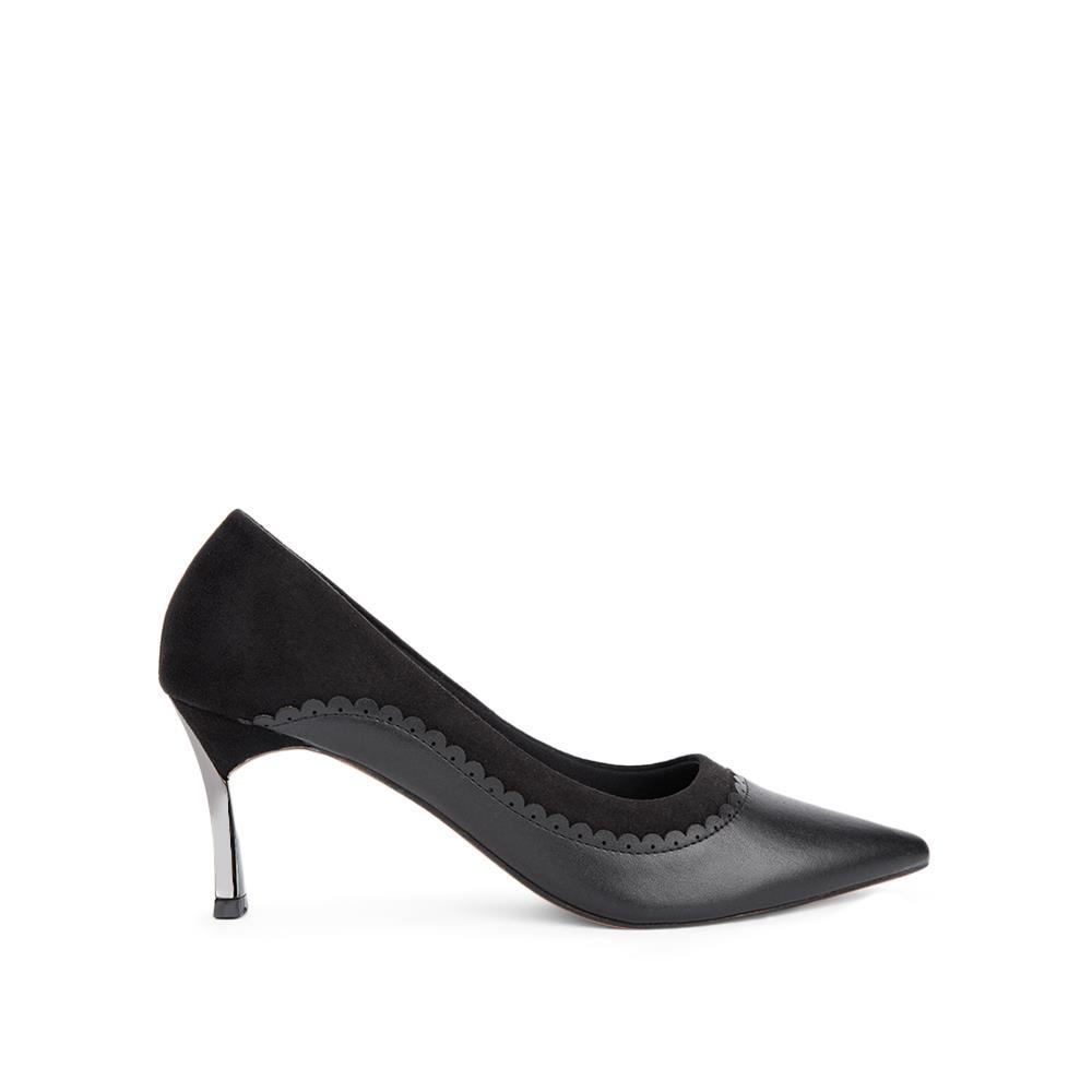 Giày cao gót mũi nhọn đế mạ ánh bạc BN0112
