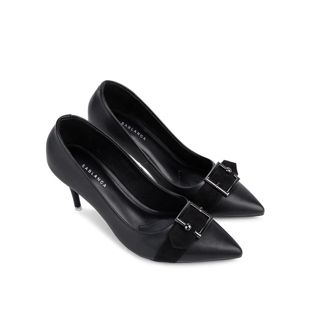 Giày cao gót mũi nhọn phối khóa kim loại BN0113