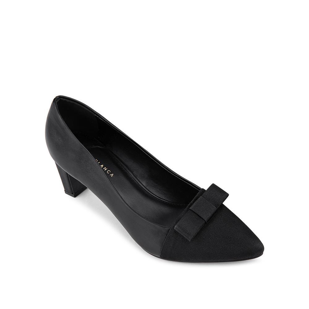 Giày cao gót mũi nhọn đính nơ vải  BN0123