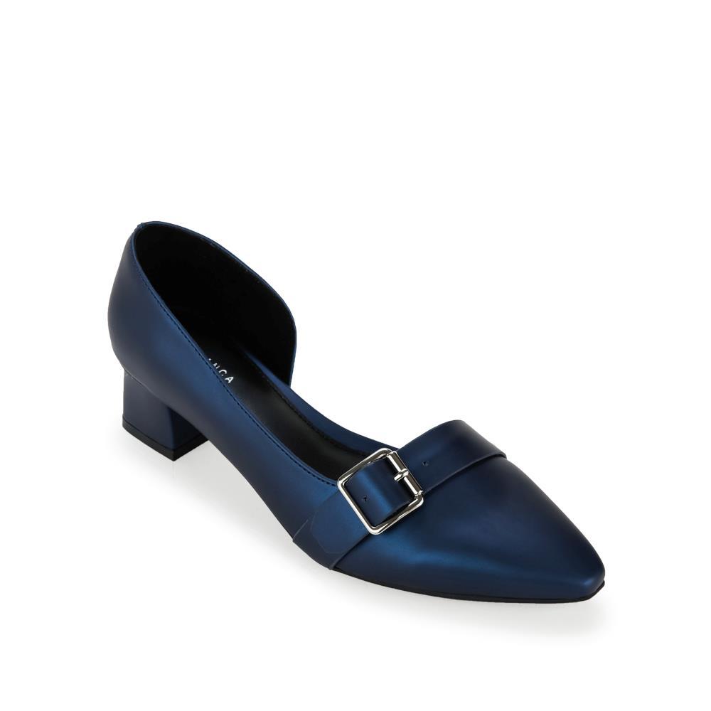 Giày cao gót mũi nhọn phối da ánh kim BN0128