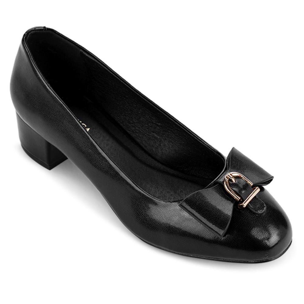 Giày cao gót mũi tròn phối nơ BT0008