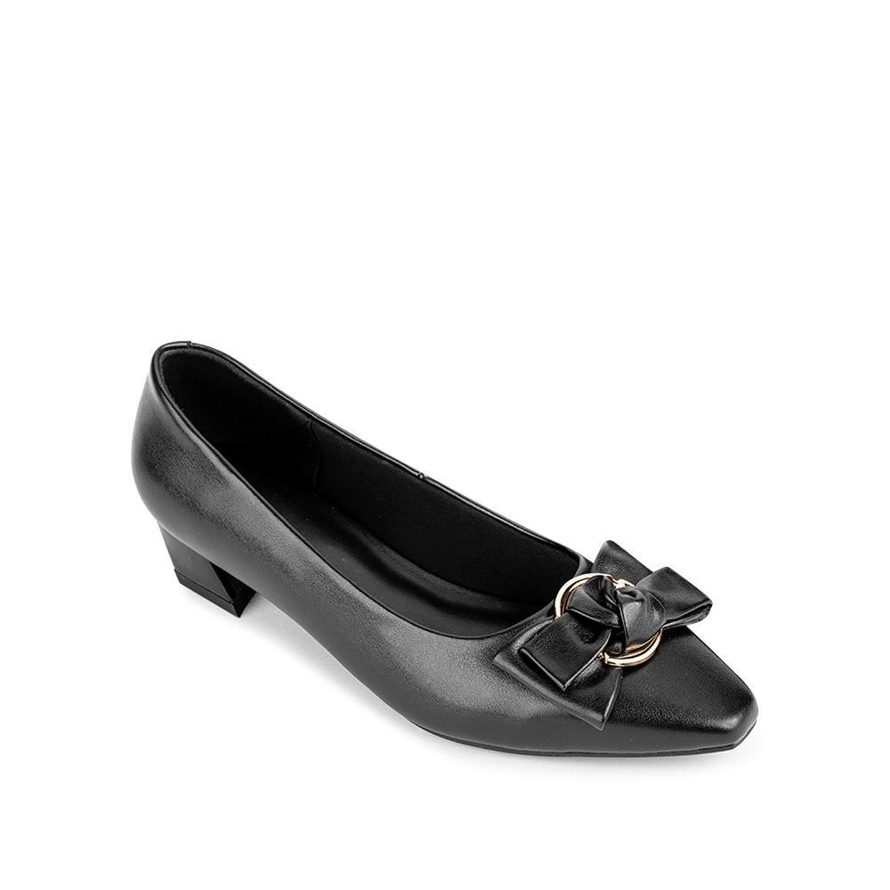 Giày cao gót mũi vuông phối nơ BV0004
