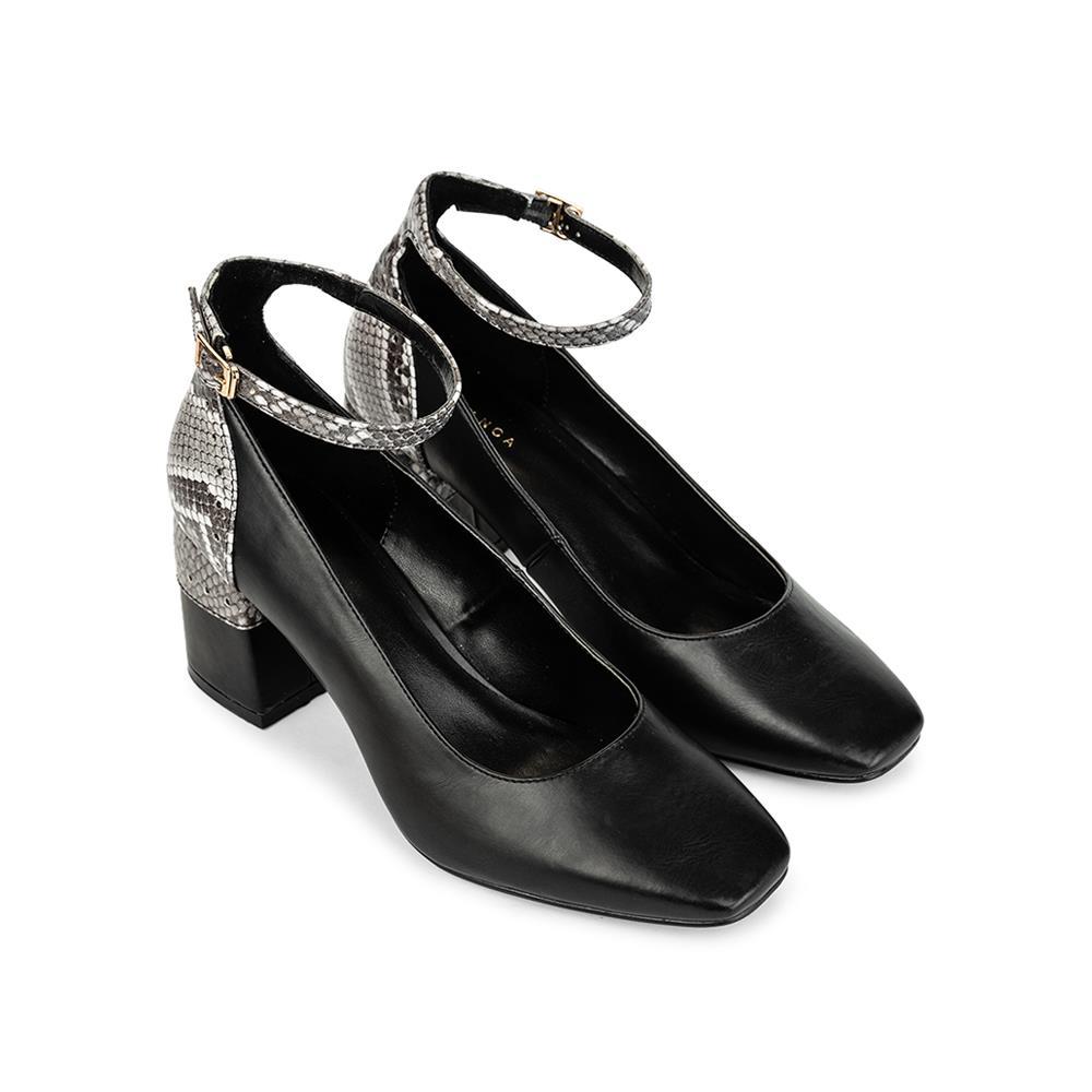 Giày cao gót mũi vuông phối vân da rắn BV0006