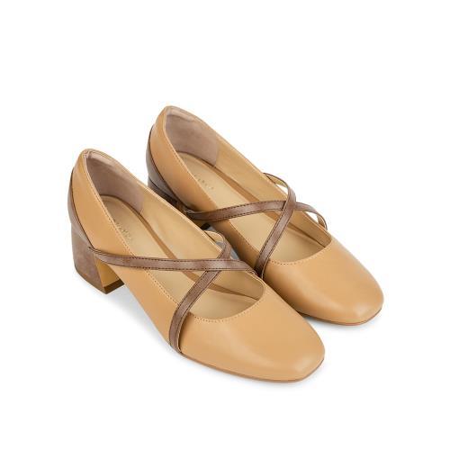 Giày cao gót mũi vuông quai chéo BV0007