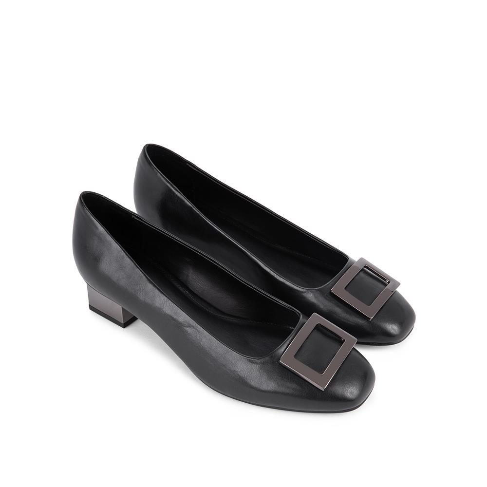 Giày cao gót mũi vuông đế vuông mạ ánh bạc BV0011