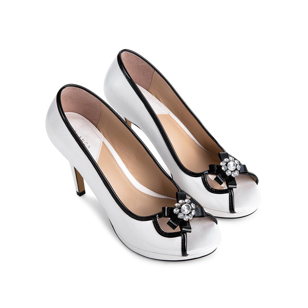 Giày cao gót hở mũi phối nơ đính đá HM0007