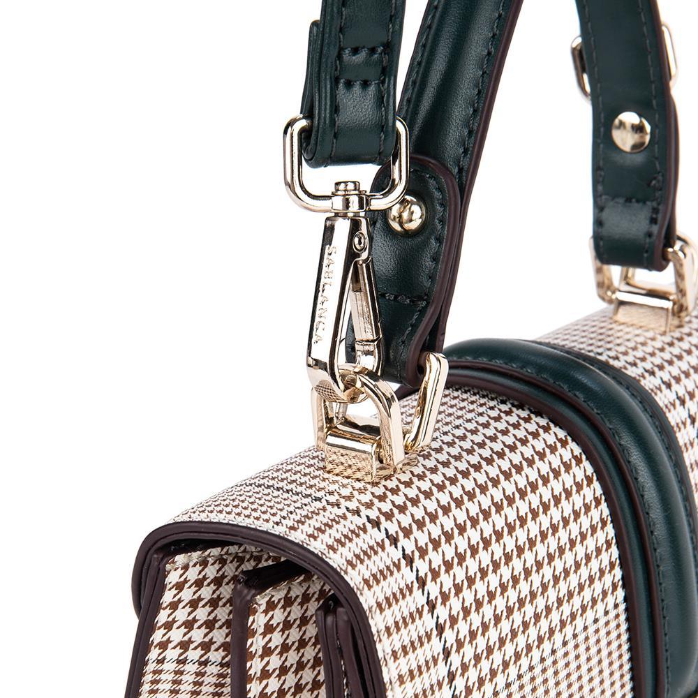 Túi xách tay phối họa tiết kẻ sọc Glen SA0021