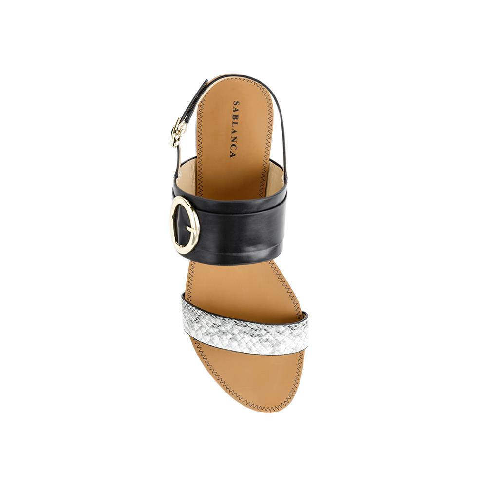 Giày Sandal đế bệt quai ngang vân da rắn SK0030