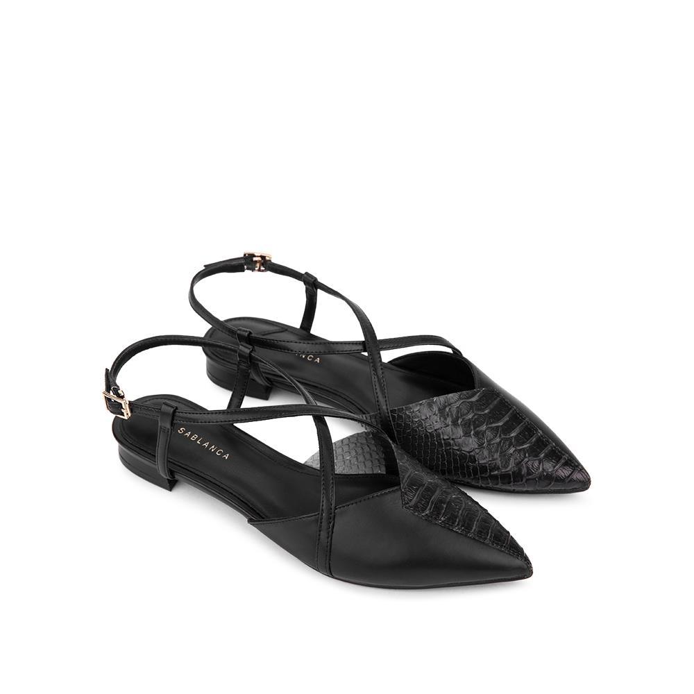 Giày Sandal đế bệt phối vân da rắn SK0043