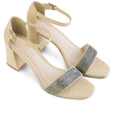 Giày sandal cao gót phối vải kim tuyến SN0059