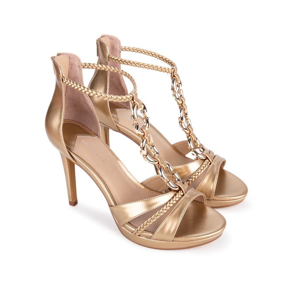 Giày sandal cao gót phối xích màu gold SN0092