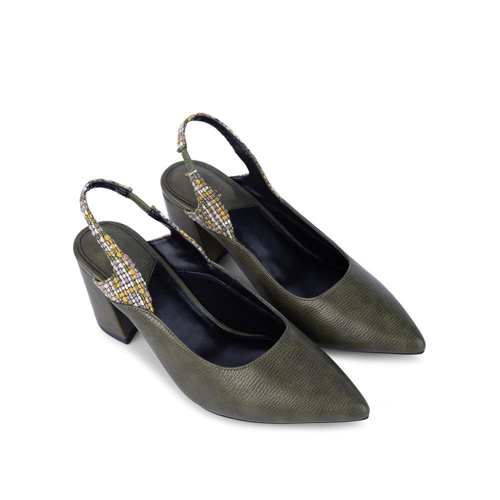 Giày sandal cao gót bít mũi phối họa tiết SN0095