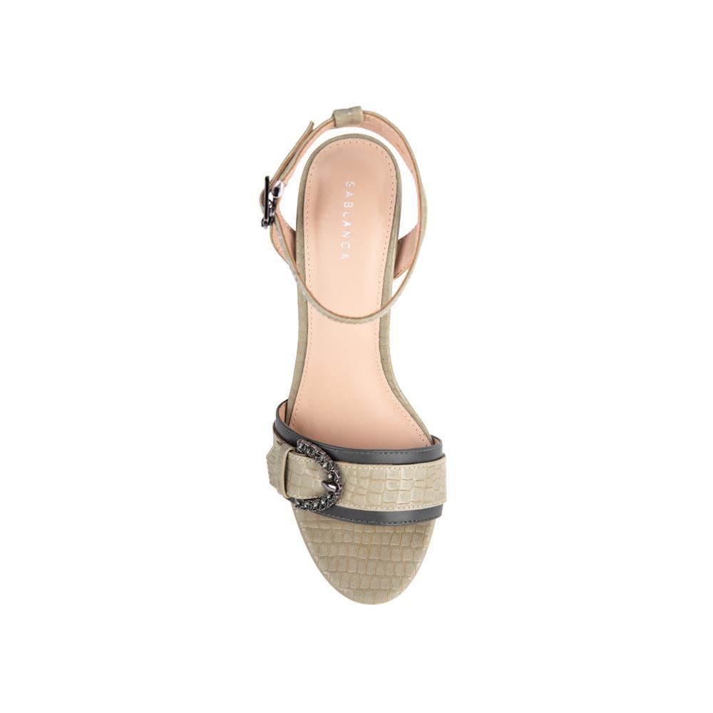 Sandal cao gót vân da cá sấu SN0108